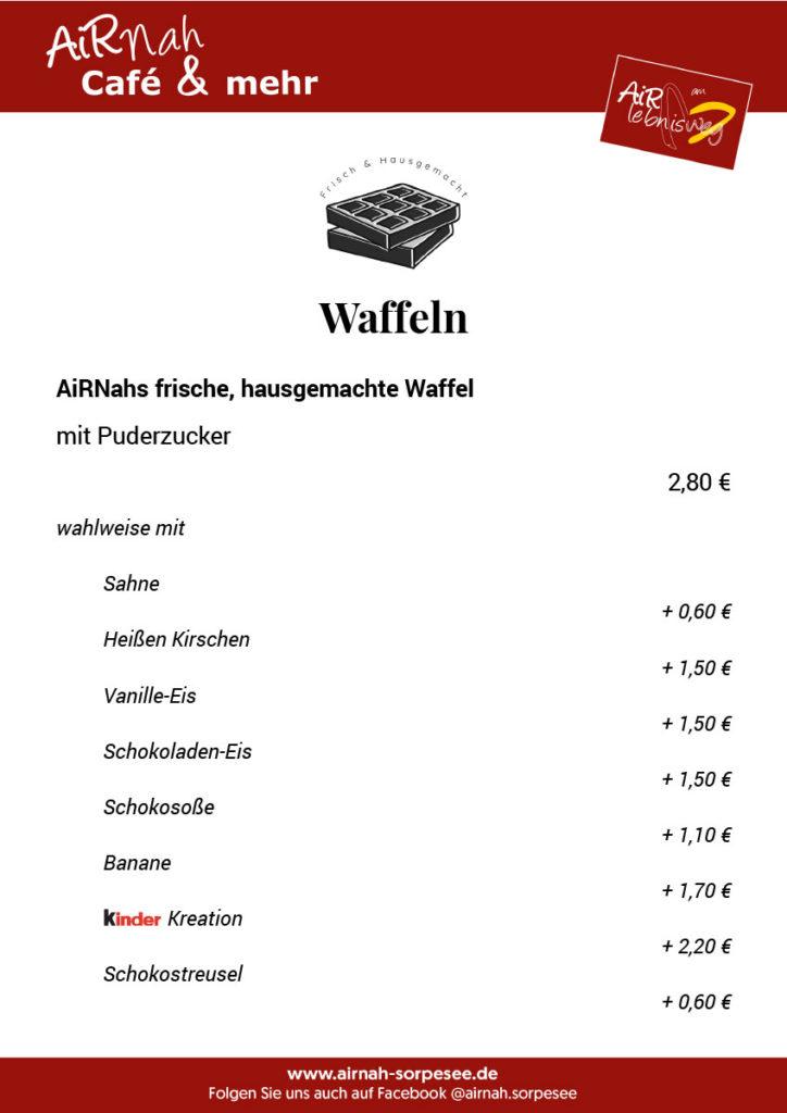 Waffel-Karte - AiRNah Café, Sorpesee